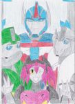 Family: Ultra Magnus, Bulk, Jackie and Songblade by TsukinoNekoHime