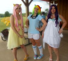 Fluttershy Dashie and Rarity by EricaMeow