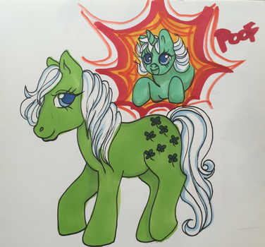 My little Pony: G1 Minty and Baby Wiggles by Bumblesweet