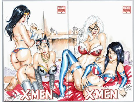 X-men Sketch Cover DC Marvel Sexy Girls by HM1art