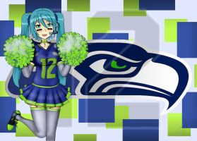 Miku Cheering for the Seahawks by ArtinScott