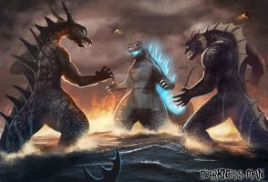 Godzilla vs Zarkorr and Kraa by Darkness-Man