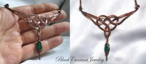 Copper and Green Onix Celtic Neclace by blackcurrantjewelry