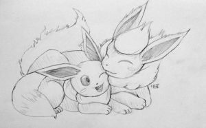 Flareon and Eevee Snuggle Time - Sketch Commission by juugatsuhoshi