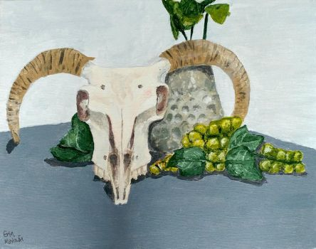 Still Life With Sheep Skull, Grapes, and Vase by Erinwolf1997