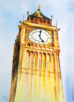 Big Ben Watercolor by peaceofartshop