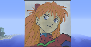 Asuka Portrait in Minecraft by MobileSuitKeroro