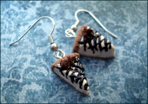 Chocolate  Drizzle Cheesecake Earrings by sheratosh