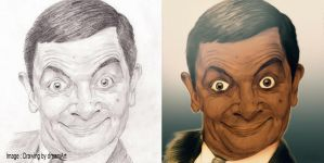 Mr bean drawing + coloring by Mrbarclonista