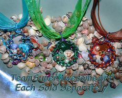 Sea shell bottle cap necklaces by SuperFlashDance