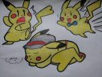A Bunch of Pikachu by JoDaHedgehog