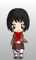 Chibi Mikasa by queenlisa