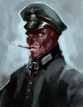 The red skull portrait by artistic-diarrhea
