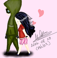 oliver and me - holding hands (chibi) by MrsCromwell