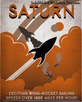 Retro Sci-fi Saturn Travel Poster by IndelibleInkWorkshop