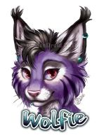 Wolfie Painted Portrait Badge by GoldenDruid