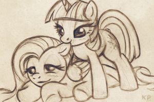 Twi and Fluttershy sketch by KP-ShadowSquirrel