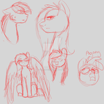 Red-sketch Ponies by Pikachu11964