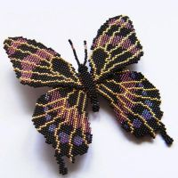 Beaded black butterfly brooch by Sol89