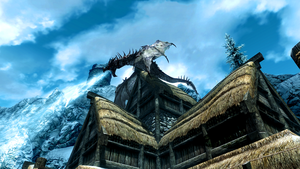 Skyrim Frost Dragon on roof by micro5797
