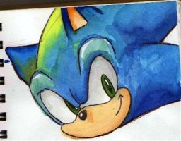 sonic watercoloring by chellchell