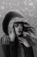 Sad Girl in the Winter Wind by la-Structure-du-Ciel