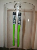 Lightsaber Earrings by QueenAliceOfAwesome
