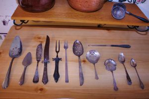 Tarnished Silver Ant. Utensils by Moon-WillowStock