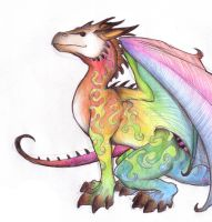 Fantasy - Rainbow Dragon by Chaos-Flower