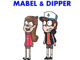Mabel and Dipper by GIRatemytaco