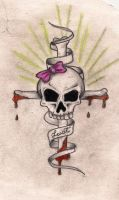 girl skull and bones cross by twistedrazorblade