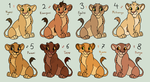 Lion King Adoptables *CLOSED* by acornheart465