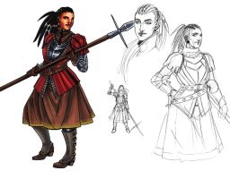 Warrior Woman Raija Sketches by omegasama