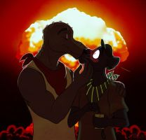 Real men kiss in front of explosions by Viccinor
