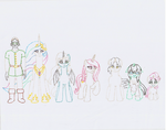 Weekly Sketches - Pony Size Comparisons by Jezendar