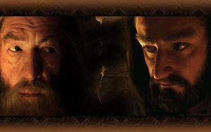 The Hobbit Wallpaper: Gandalf and Thorin -1280x800 by DarqueJackal