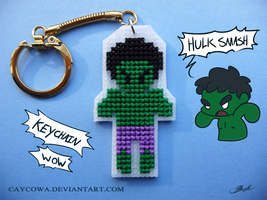 Hulk cross stitch keychain by caycowa