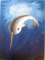 Narwhal painting by yoru-rose