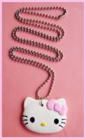 Pink Bow Hello Kitty Necklace by cherryboop