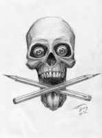Skull and pencils by black-griffel