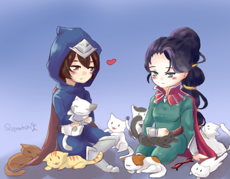 Vayne, Talon and Cats by AbyssmalReader