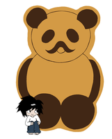 L with a giant panda bear by bettinaminamino