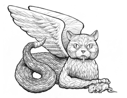 Flying Slither Puss Line Art by MarkHartman