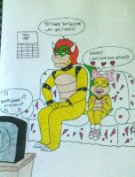 Bowser and Wendy watching MTV (c. 1987) by RockyToonz93
