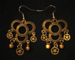 Steampunk Earrings 02 by PhoenixII