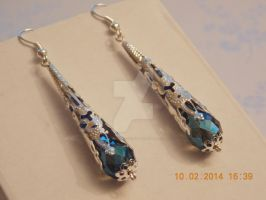 Blue crystal and silver-plate earrings by Quested-Creations