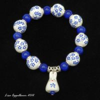 Blue Flower Bunny Bracelet by Cillana