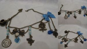 Alice's adventure charm bracelet, blue by assassin-kitty