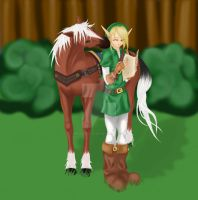 Link and Epona: Colored by emerald-eyez333