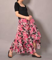 Pink White Brown Floral Skirt3 by yystudio